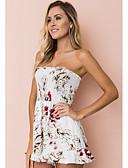 ราคาถูก จั๊มสูทและเสื้อคลุมสำหรับผู้หญิง-สำหรับผู้หญิง สีดำ ขาว สีน้ำเงิน ขากว้าง Romper Onesie, ลายดอกไม้ S M L