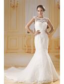 povoljno Vjenčanice-Sirena kroj Bateau Neck Dugi šlep Čipka / Til Izrađene su mjere za vjenčanja s Perlica / Čipka / Nabrano po ANGELAG