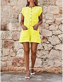 ราคาถูก จั๊มสูทและเสื้อคลุมสำหรับผู้หญิง-สำหรับผู้หญิง พื้นฐาน สีดำ ส้ม สีเหลือง เพรียวบาง Romper Onesie, สีพื้น ลายต่อ S M L