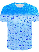 baratos Camisetas & Regatas Masculinas-Homens Tamanhos Grandes Camiseta Exagerado Estampado, 3D / Gráfico Decote Redondo Azul Claro XXXXL / Manga Curta