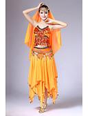 זול מחזיקים ומרכבים-ריקוד בטן תלבושות בגדי ריקוד נשים הצגה שיפון חרוזים / תחרה / שכבות ללא שרוולים נפול חצאיות / עליון / כיסוי ראש