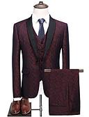 billige T-skjorter og singleter til herrer-Herre drakter, Fargeblokk Rundet jakkeslag Polyester Blå / Vin / Tynn