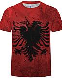 baratos Cintos Masculinos-Homens Tamanho Europeu / Americano Camiseta 3D Decote Redondo Delgado Vermelho
