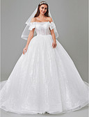 povoljno Vjenčanice-Princeza Spuštena ramena Srednji šlep Til / Sa šljokicama Izrađene su mjere za vjenčanja s Perlica / Mašna po LAN TING BRIDE® / Prozirne