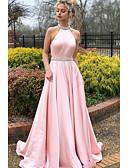 Χαμηλού Κόστους Βραδινά Φορέματα-Γραμμή Α Δένει στο Λαιμό Ουρά Σατέν Κομψό & Πολυτελές / Φανταχτερό Χοροεσπερίδα Φόρεμα 2020 με Κρυστάλλινη λεπτομέρεια