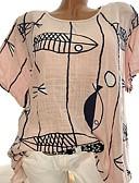 ราคาถูก เสื้อยืดสำหรับสุภาพสตรี-สำหรับผู้หญิง ขนาดพิเศษ เสื้อเชิร์ต ลายพิมพ์ เพรียวบาง รูปเรขาคณิต ใบไม้สีเขียวที่มีสามแฉก