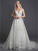 povoljno Vjenčanice-A-kroj V izrez Srednji šlep Čipka / Til Izrađene su mjere za vjenčanja s Perlica / Čipka po LAN TING BRIDE®