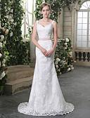 billiga Brudklänningar-Trumpet / sjöjungfru V-hals Hovsläp Spets / Tyll Smala axelband Bröllopsklänningar tillverkade med Bård / Applikationsbroderi / Rosett(er) 2020