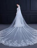 Χαμηλού Κόστους Πέπλα Γάμου-Μίας Βαθμίδας Άκρη με Απλίκα Δαντέλας / Κομψό & Πολυτελές Πέπλα Γάμου Πολύ Μακριά Πέπλα με Διακοσμητικά Επιράμματα / Παγιέτες 157,48  ίντσες(400εκ) Δαντέλα / Τούλι / Οβάλ