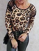 ราคาถูก เสื้อยืดสำหรับสุภาพสตรี-สำหรับผู้หญิง เสื้อเชิร์ต Hollow ลายเสือ สีน้ำตาล / ฤดูใบไม้ผลิ / ฤดูร้อน / ตก