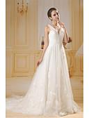 ราคาถูก ชุดแต่งงาน-A-line คอวี ชายกระโปรงคอร์ท Tulle / เลื่อม ชุดแต่งงานที่ทำขึ้นเพื่อวัด กับ ของประดับด้วยลูกปัด / จีบข้าง โดย ANGELAG