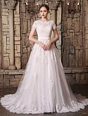 ราคาถูก Special Occasion Dresses-A-line อัญมณี ชายกระโปรงชาเปิล ลูกไม้ / Tulle ชุดแต่งงานที่ทำขึ้นเพื่อวัด กับ เข็มกลัด / ลูกไม้ / ผ้าคาดเอว / โบว์ โดย JUDY&JULIA
