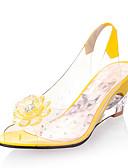 ราคาถูก ชุดเดรสลูกไม้สุดโรแมนติก-สำหรับผู้หญิง PU ฤดูร้อนฤดูใบไม้ผลิ Preppy / minimalism รองเท้าแตะ รองเท้าส้นตึก ที่สวมนิ้วเท้า สีเหลือง / แดง / ฟ้า / พรรคและเย็น