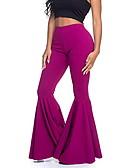 זול מכנסיים לנשים-בגדי ריקוד נשים בסיסי Flare מכנסיים - אחיד ורוד מסמיק סגול צהוב XL XXL XXXL