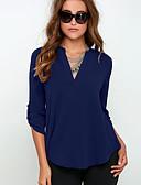 Χαμηλού Κόστους Μπλούζα-Γυναικεία Μπλούζα Μονόχρωμο Λαιμόκοψη V Μαύρο