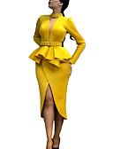 olcso Női ruhák-Női Elegáns Hüvely Ruha Egyszínű Aszimmetrikus