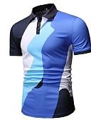 povoljno Muške polo majice-Polo Muškarci Dnevni Nosite Color block Kragna košulje Plava / Kratkih rukava