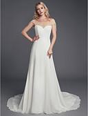 povoljno Vjenčanice-A-kroj Scoop Neck Srednji šlep Šifon / Til Izrađene su mjere za vjenčanja s Perlica po LAN TING BRIDE®