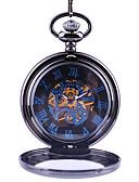 ราคาถูก นาฬิกาพก-สำหรับผู้ชาย นาฬิกาแบบพกพา ไขลานอัตโนมัติ ดำ แกะสลักกลวง ดีไซน์มาใหม่ นาฬิกาใส่ลำลอง ระบบอนาล็อก ไม่เป็นทางการ Skeleton - สีดำ