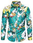 baratos Camisas Masculinas-Homens Camisa Social Vintage Estampado, Tribal Folha tropical Verde Claro