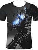 billige T-skjorter og singleter til herrer-T-skjorte Herre - Geometrisk / Ensfarget, Trykt mønster Gatemote / overdrevet Svart