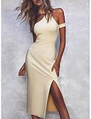 Χαμηλού Κόστους Φορέματα NYE-Γυναικεία Βασικό Εφαρμοστό Θήκη Φόρεμα - Μονόχρωμο, Σκίσιμο Ως το Γόνατο
