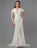 baratos Vestidos de Casamento-Tubinho Decote mergulhador Cauda Escova Renda Vestidos de casamento feitos à medida com Fenda Frontal de LAN TING BRIDE®