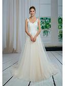 ราคาถูก Special Occasion Dresses-A-line คอวี ชายกระโปรงลากพื้น ลูกไม้ / Tulle ชุดแต่งงานที่ทำขึ้นเพื่อวัด กับ เข็มกลัด / ลูกไม้ โดย ANGELAG