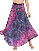 ราคาถูก กระโปรงผู้หญิง-สำหรับผู้หญิง Swing Vacation / โบโฮ ขนาดใหญ่ กระโปรง - ลายดอกไม้ ลายพิมพ์ ลายดอกไม้ ใบไม้สีเขียวที่มีสามแฉก ทับทิม สีม่วง ขนาดเดียว / หลวม