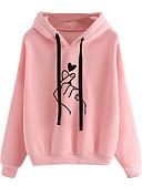 ราคาถูก เสื้อฮู้ดและเสื้อกันหนาวสเว็ตเชิ้ตผู้หญิง-สำหรับผู้หญิง ไม่เป็นทางการ / สไตล์น่ารัก Hoodie สีพื้น / Heart