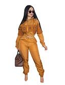 זול חליפות שני חלקים לנשים-צווארון פיטר פן מכנס טלאים, קולור בלוק / אותיות - סט בסיסי / סגנון רחוב בגדי ריקוד נשים