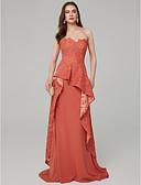 ราคาถูก Special Occasion Dresses-A-line ไร้สาย ลากพื้น ลูกไม้ / เจอร์ซี่ ทางการ แต่งตัว กับ จับย่น โดย TS Couture®
