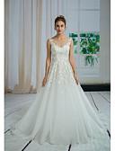 povoljno Vjenčanice-A-kroj Bateau Neck Dugi šlep Čipka / Til Izrađene su mjere za vjenčanja s Perlica / Aplikacije / Čipka po ANGELAG