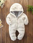 hesapli Bebek Dış Giyimi-Bebek Genç Kız Actif / Temel Solid / Çizgili Uzun Kollu Pamuklu Tek Parça Beyaz / Toddler