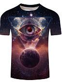 billige T-skjorter og singleter til herrer-Rund hals Store størrelser T-skjorte Herre - Galakse / 3D, Trykt mønster Regnbue
