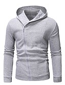 cheap Men's Clothing-Men's Casual / Basic Hoodie - Solid Colored Black XL