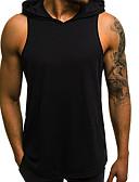 billige T-skjorter og singleter til herrer-Bomull Med hette EU / USA størrelse Singleter Herre - Ensfarget Svart