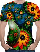 ราคาถูก เสื้อยืดและเสื้อกล้ามผู้ชาย-สำหรับผู้ชาย ขนาดของยุโรป / อเมริกา เสื้อเชิร์ต ลายพิมพ์ คอกลม ลายดอกไม้ / ลายบล็อคสี / 3D ใบไม้สีเขียวที่มีสามแฉก