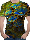 ราคาถูก เสื้อยืดและเสื้อกล้ามผู้ชาย-สำหรับผู้ชาย ขนาดพิเศษ เสื้อเชิร์ต ฝ้าย ลายพิมพ์ คอกลม ลายดอกไม้ / 3D สายรุ้ง