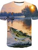 baratos Camisetas & Regatas Masculinas-Homens Tamanhos Grandes Camiseta Estampado, 3D / Gráfico / Animal Decote Redondo Azul