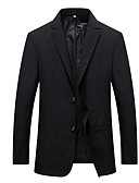 cheap Men's Tees & Tank Tops-Men's Blazer, Solid Colored Notch Lapel Polyester Blue / Black / Slim