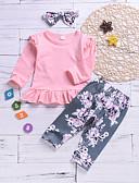 זול סטים של ביגוד לתינוקות-סט של בגדים כותנה שרוול ארוך דפוס בסיסי בנות תִינוֹק / פעוטות