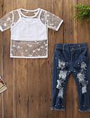 זול סטים של ביגוד לתינוקות-סט של בגדים כותנה שרוולים קצרים ripped גלקסיה פעיל / בסיסי בנות תִינוֹק / פעוטות