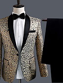 ราคาถูก ชุดเดรสปาร์ตี้-สำหรับผู้ชาย ชุด ปกคอแบะของเสื้อแบบน็อตช์ เส้นใยสังเคราะห์ สีทอง / เพรียวบาง