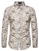 זול חולצות לגברים-פרחוני בסיסי מידות גדולות חולצה - בגדי ריקוד גברים סרוג לבן / שרוול ארוך