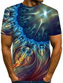 billige T-skjorter og singleter til herrer-Rund hals EU / USA størrelse T-skjorte Herre - Fargeblokk / 3D / Grafisk, Trykt mønster Gatemote / overdrevet Klubb Navyblå / Kortermet