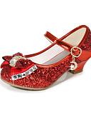 ราคาถูก เดรสเด็กผู้หญิง-เด็กผู้หญิง รองเท้าสาวดอกไม้ Synthetics รองเท้าส้นสูง เด็ก ปมผ้า / เลื่อม สีดำ / สีม่วง / สีทอง ฤดูร้อน / พรรคและเย็น / TPR (ยางเทอร์โมพลาสติก)