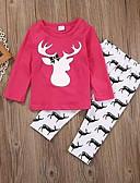 זול סטים של ביגוד לתינוקות-סט של בגדים שרוול ארוך גיאומטרי / דפוס בנות תִינוֹק