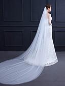 ราคาถูก ม่านสำหรับงานแต่งงาน-Two-tier ง่าย / คลาสสิก ผ้าคลุมหน้าชุดแต่งงาน ผ้าคลุมหน้าในโบสถ์ กับ ไม่มีลาย 118.11นิ้ว (300ซม.) Tulle