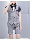 זול חליפות לנושאי הטבעת-אפור כותנה / פוליאסטר חליפה לנושא הטבעת  - 1set כולל עניבה ארוכה / עליון / חולצה